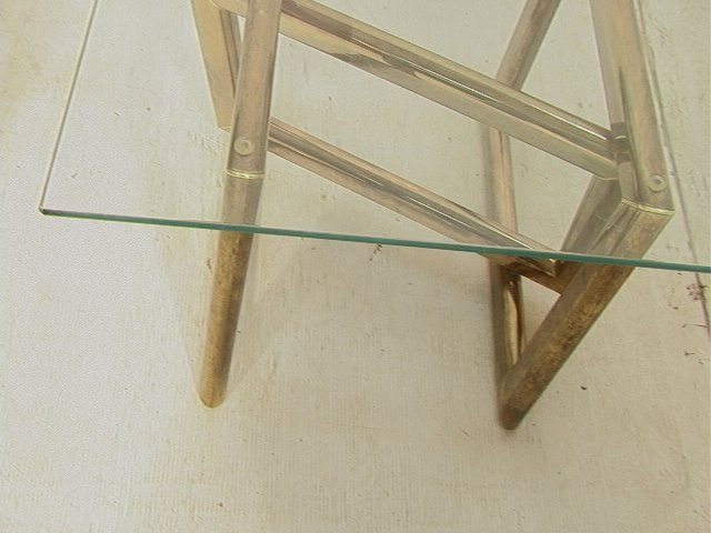 Pr Brass Glass Top Side End Tables. Base with thr - 5