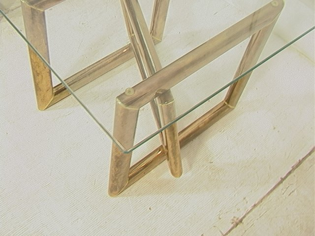 Pr Brass Glass Top Side End Tables. Base with thr - 7
