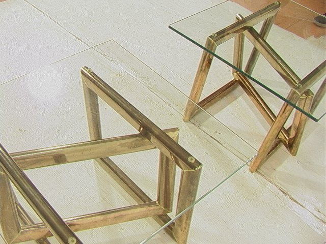 Pr Brass Glass Top Side End Tables. Base with thr - 8
