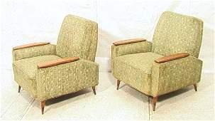 Pr American Modern Walnut Frame Upholstered Loung