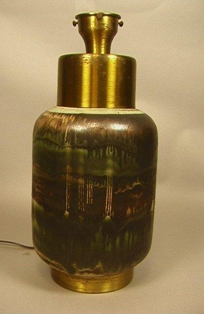 Glazed MCM Pottery Lamp. Nice brown & green glaze