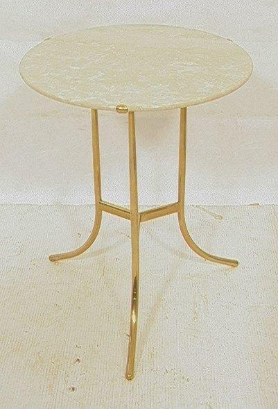 CEDRIC HARTMAN Travertine & Brass Tabouret Table.