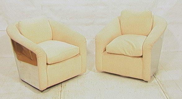 Pr MILO BAUGHMAN Swivel Lounge Chairs. Chrome Bar