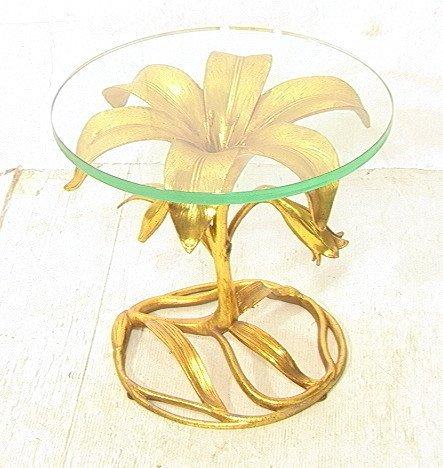ARTHUR COURT Gilt Metal Floral Side Table. Thick