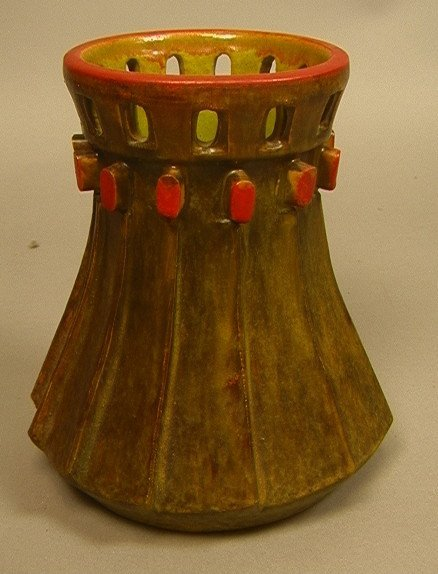 Architectural ALVINO BAGNI Italian Pottery Vase.