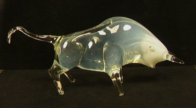 SALVIATI Murano Art Glass Bull Sculpture. Signed