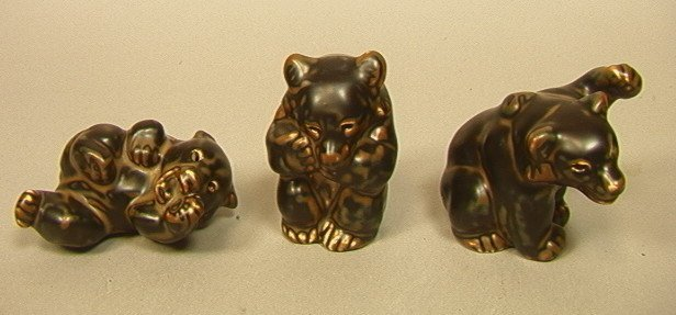Set 3 ROYAL COPENHAGEN Ceramic Bears. KNUD KYHN.
