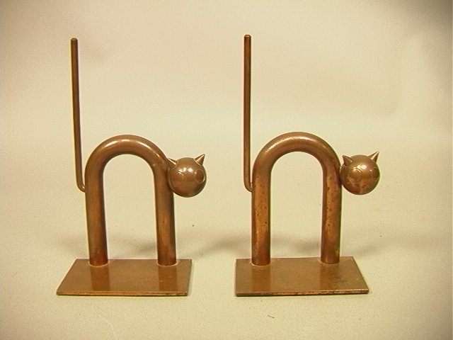 Pr CHASE Solid Copper Cat Bookends. by WALTER Von