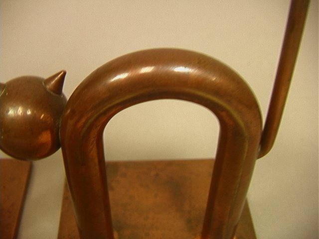 Pr CHASE Solid Copper Cat Bookends. by WALTER Von - 4