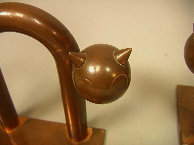 Pr CHASE Solid Copper Cat Bookends. by WALTER Von - 5