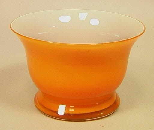 SALVIATI Orange Art Glass Bowl. Murano Italian Gl