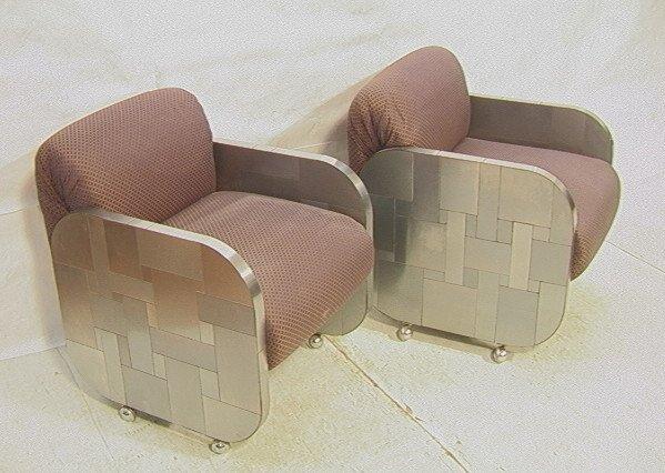 Pr PAUL EVANS Cityscape Lounge Chairs. Chrome & A