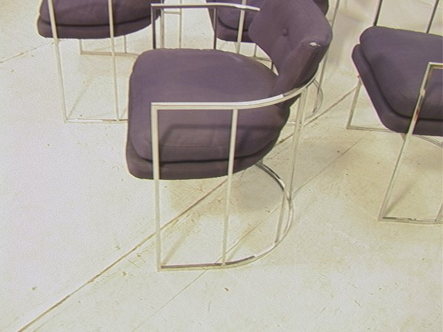 4 MILO BAUGHMAN Chrome Dining Chairs. Barrel Back - 2