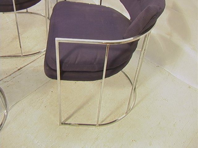 4 MILO BAUGHMAN Chrome Dining Chairs. Barrel Back - 3