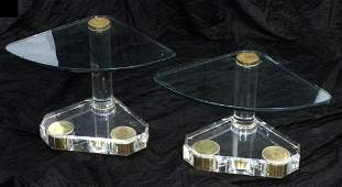 Pr Karl Springer style Cantilever Side Tables. 3/