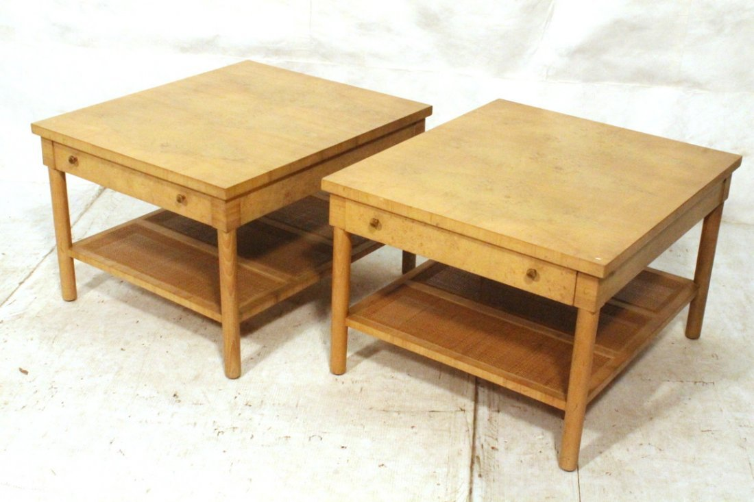Pr Blond McCOBB style End Tables. Woven rattan lo