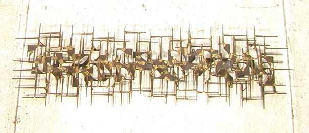 Brutalist Metal Nail Wall Art. Welded Nails and T