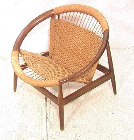 Danish Modern Wood Woven Rush Circle Chair. Round