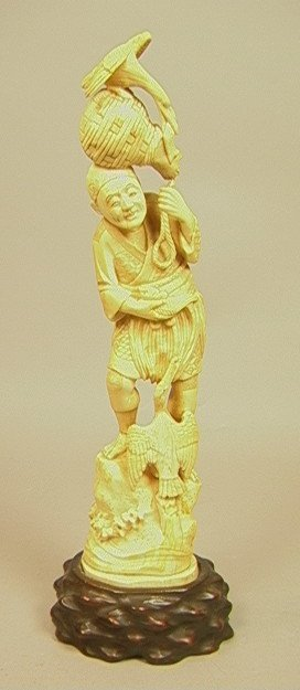 Large Chinese CARVED IVORY FIGURE. MAN WITH BIRDS