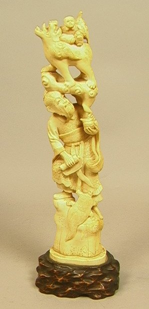 Large Chinese CARVED IVORY FIGURE. Man with child