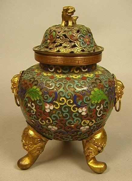 Chinese Champleve & Cloisonné Incense Burner. Pie