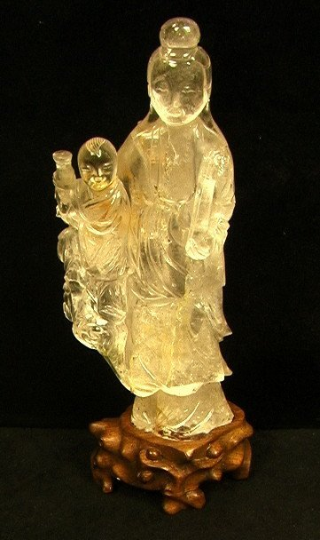 Large Carved Rock Crystal Sculpture Figure. Woman