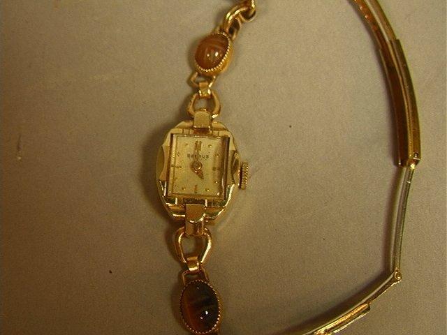 BENRUS 14K Gold Ladies Scarab Watch Bracelet. Sma