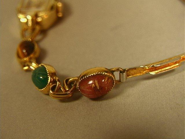BENRUS 14K Gold Ladies Scarab Watch Bracelet. Sma - 3