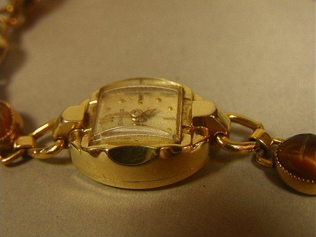 BENRUS 14K Gold Ladies Scarab Watch Bracelet. Sma - 4