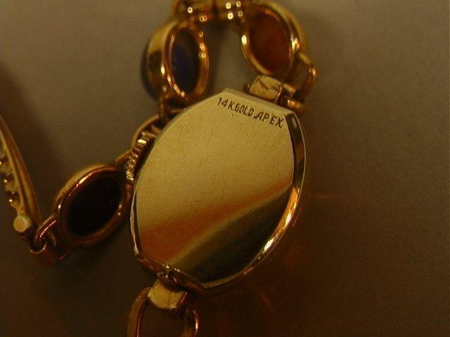 BENRUS 14K Gold Ladies Scarab Watch Bracelet. Sma - 5