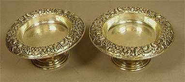 Pr S KIRK & SON Sterling Repousse Compotes Bowls.