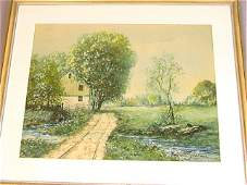 RAPHAEL SENSEMAN Watercolor Painting Countryside