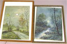 2pcs RAPHAEL SENSEMAN Watercolor Painting Moonlig