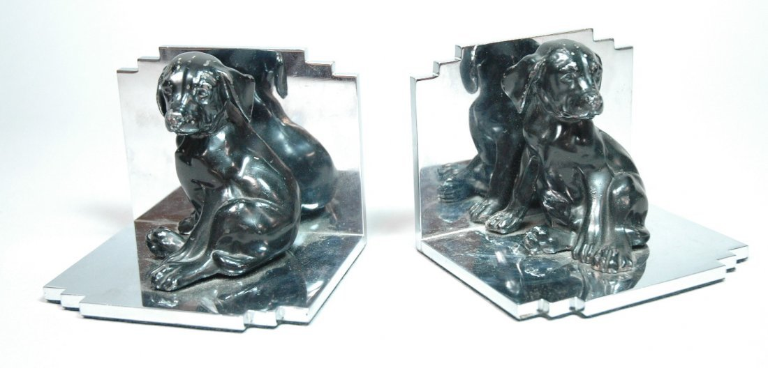 Pr Art Deco Dog Bookends. Black painted dogs on s