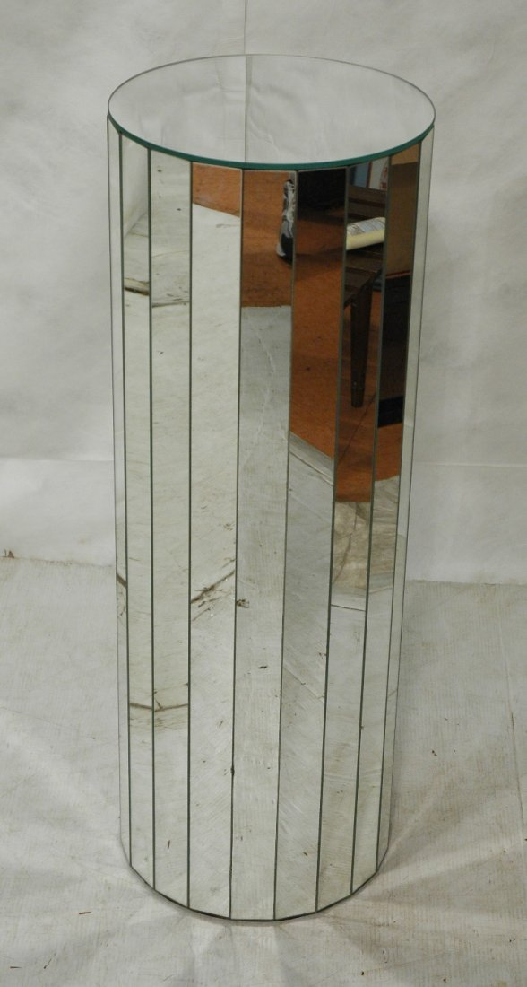 Tall Mirrored Pedestal Stand. Faceted Mirror Side