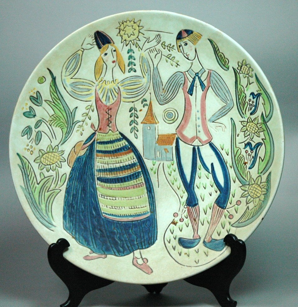 Swedish RORSTRAND Large Figural Plate Charger. Da