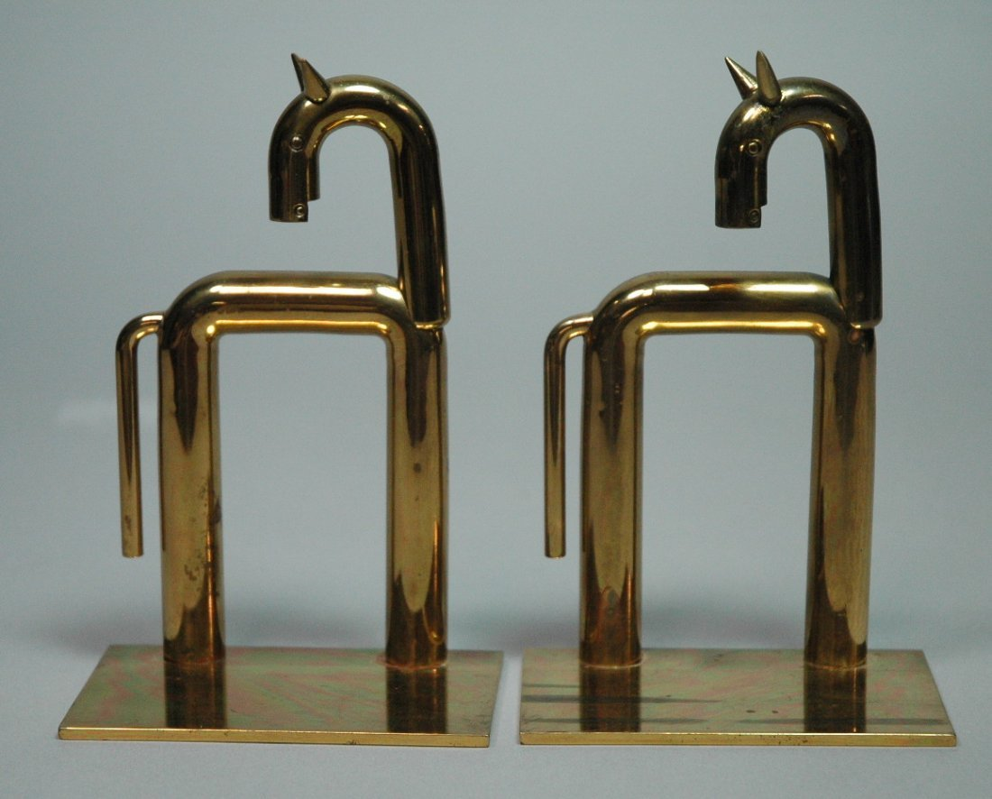 Pr CHASE Art Deco Brass Horse Bookends. Rare pair
