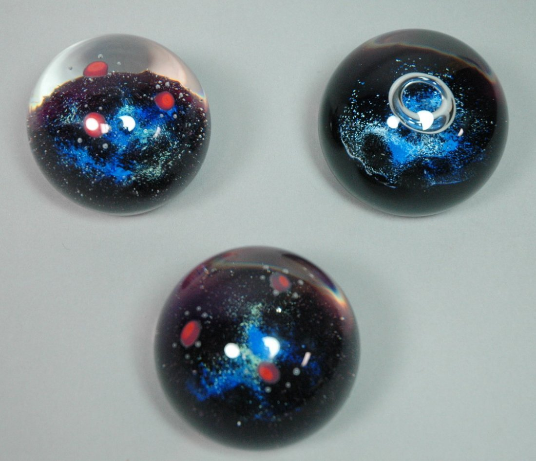 Set 3 Art Glass Scotland Planet Paperweights. Two