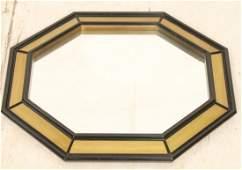 Decorator Beveled Octagon Frame Wall Mirror Blac