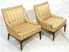 Pr McCOBB style Striped Fabric Lounge Chairs Tal