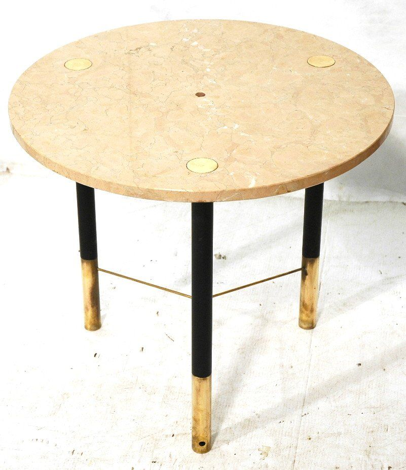 TOMMI PARZINGER Travertine Top Round Side Table.