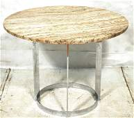 """PACE style Travertine top Chrome Dining Table. 1"""""""