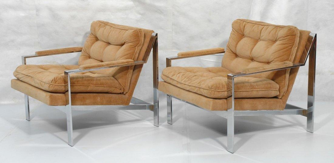 Pr MILO BAUGHMAN Chrome Lounge Chair. Wide flat c