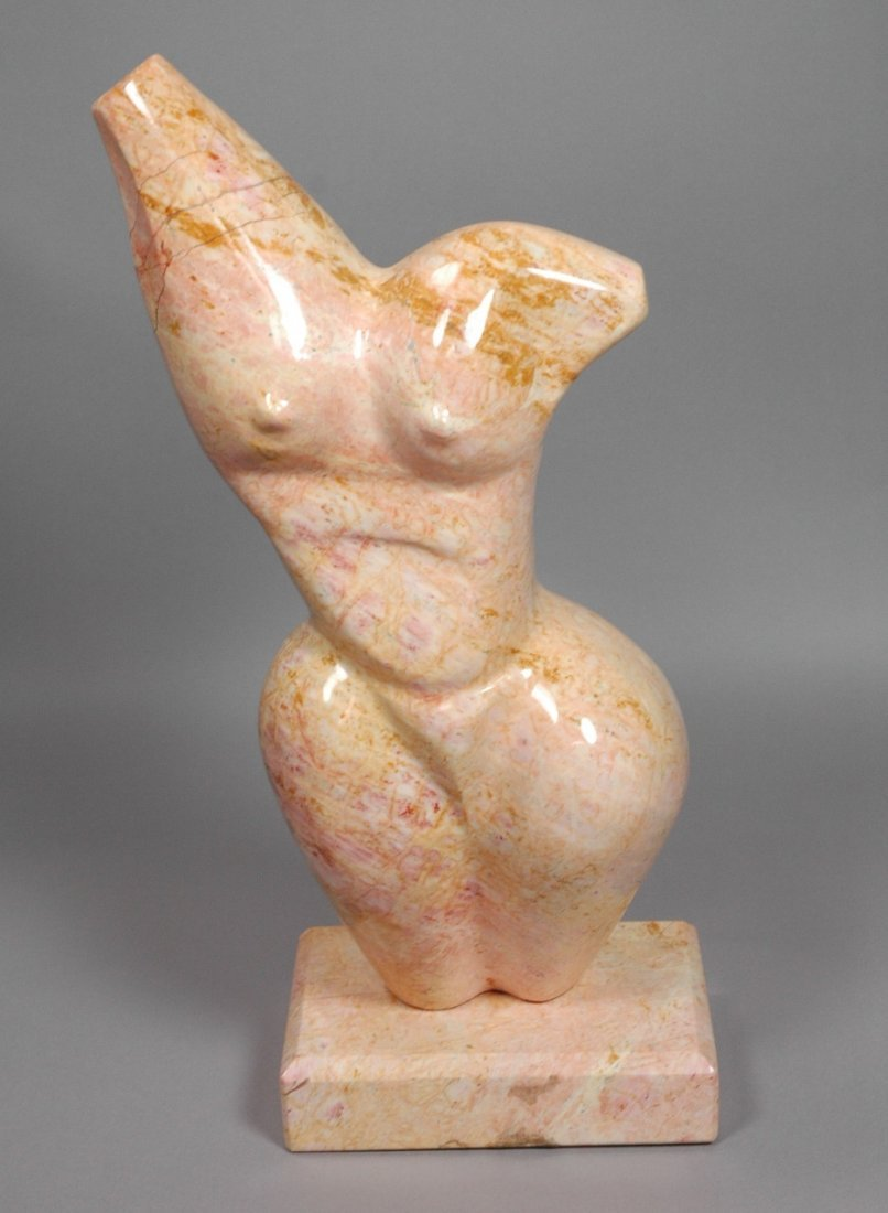 Carved Pink Marble Female Nude Figure Sculpture.