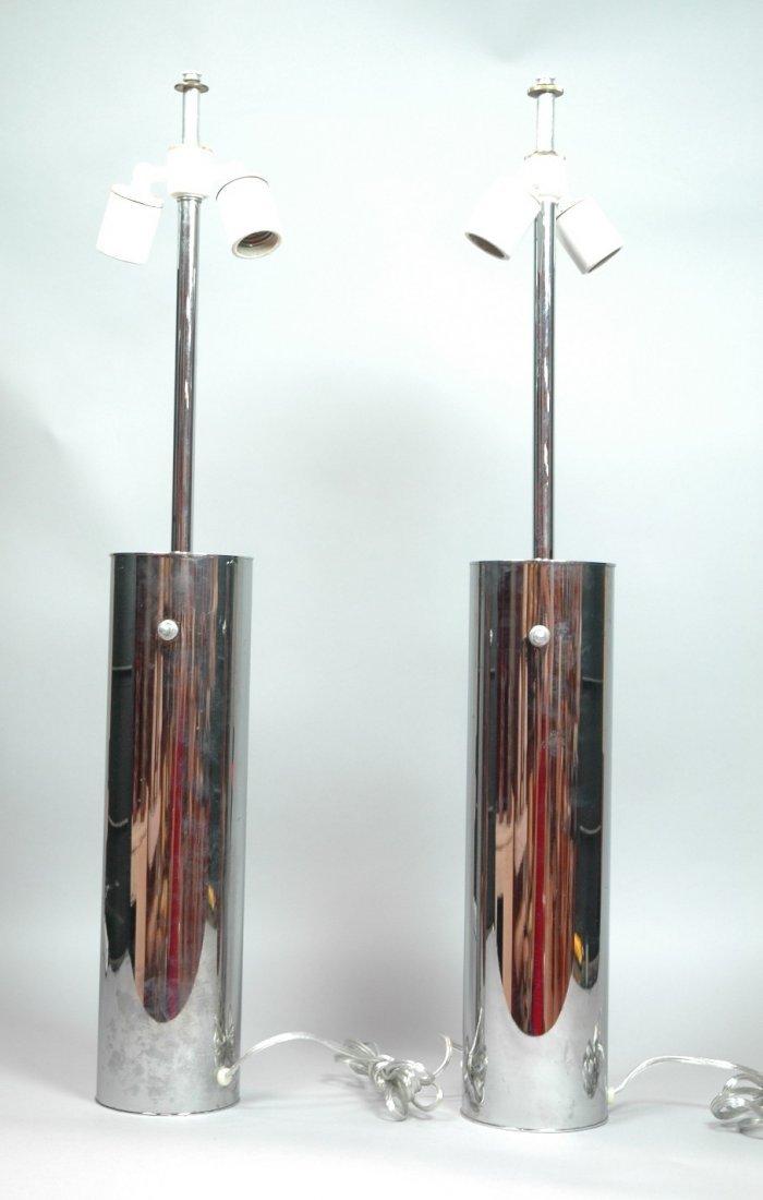Pr Chrome Column  Nessen Table Lamps. Marked. 2 p