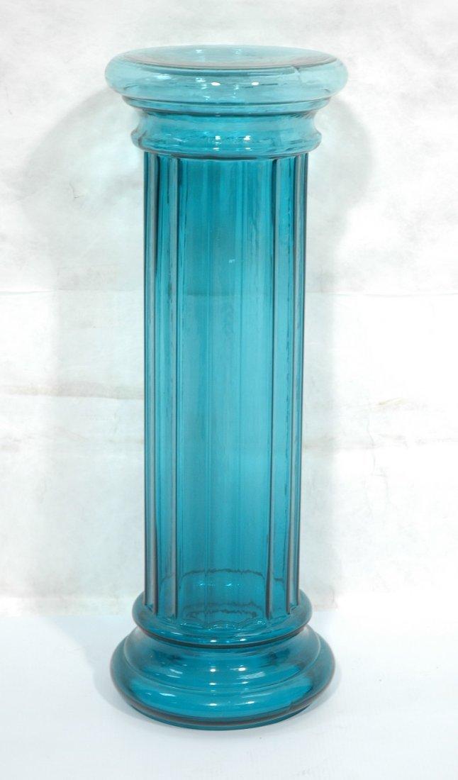 Green BLENKO style Glass Column Pedestal. Not mar