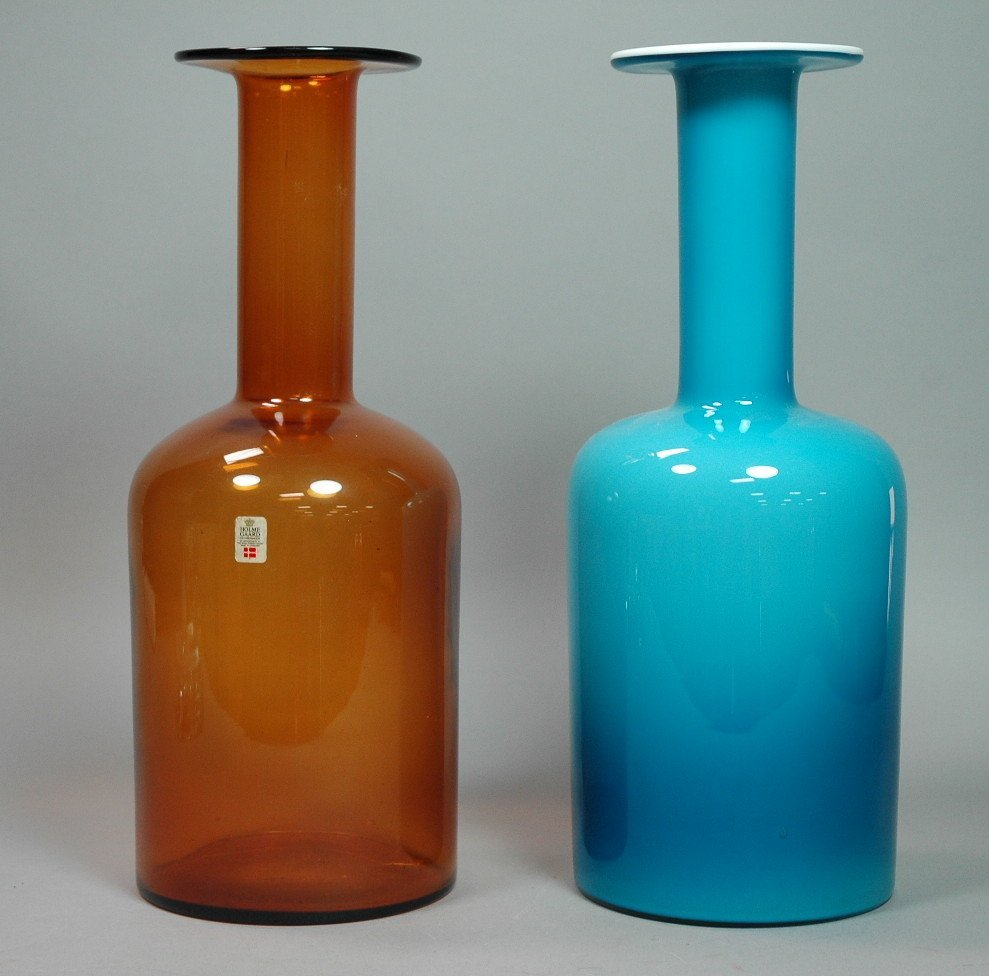 2 HOLMEGAARD Long Necked Bottles Vases. OTTO BRAU
