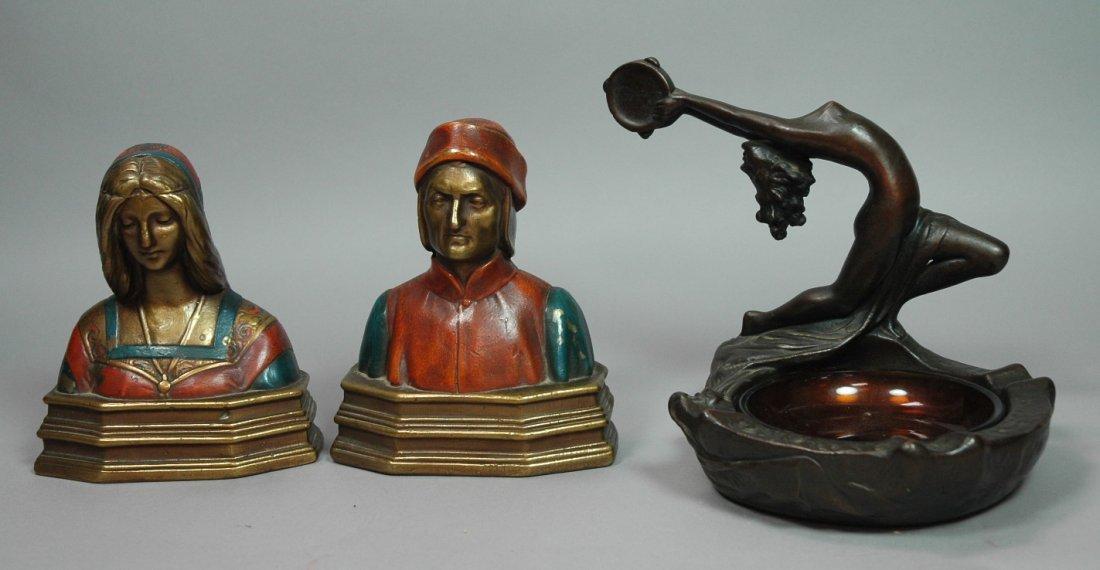 Art Deco ARMOR Bronze Dante & Beatrice Bookends.