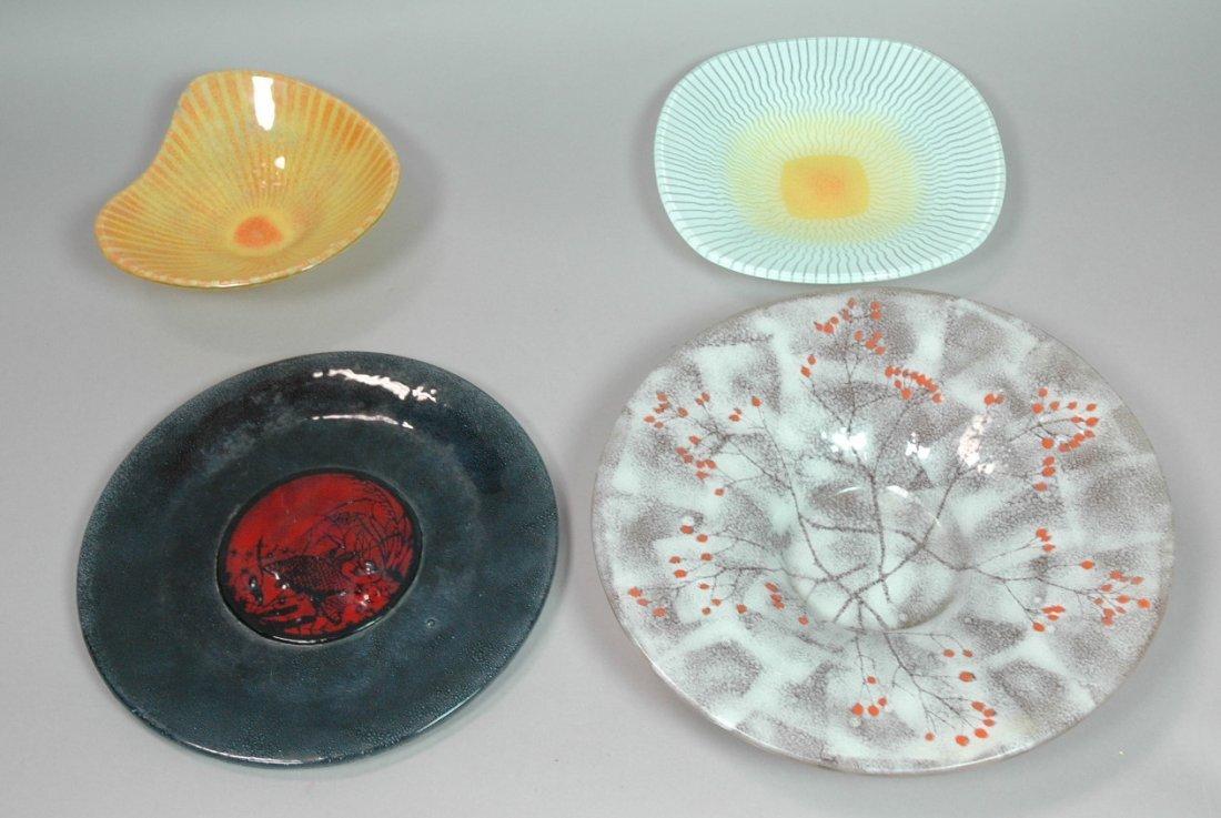 4pc Art Glass Bowls Plates. Signed Michael Heaton