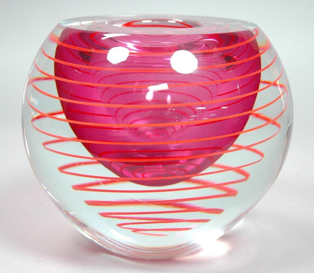 Czech BERANEK Hand Made Art Glass Vase. Engraved